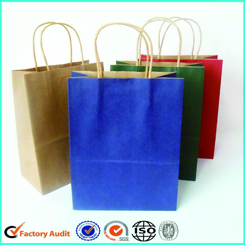 White Kraft Paper Bags Shopping Handle Brown