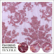 High quality polyester chemical beaded french lace embroidered fabric