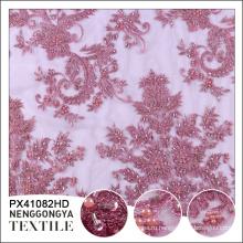 Высококачественных полиэфирных химических бисером французского кружева вышитые ткани