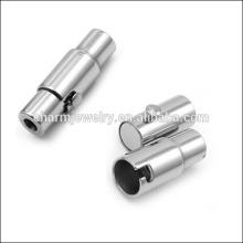 BXG004 brilhante 2/3/4/5/6/7/8/10 milímetros de aço inoxidável prata em branco Cilindro magnético fecho para cordão de couro DIY jóias Encontrar