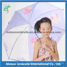 Tela y plástico Canopy con impresión Hermoso diseño Kids Umbrella