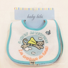 Wholesale factory price cartoon baby drool bib embroidered cotton baby bibs