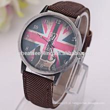 Reino Unido flag tecido pulseira voga homens relógio