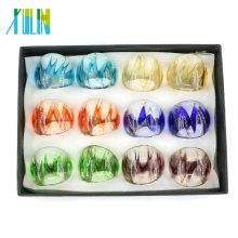 MC1009 Fashion Gold Sand Mix Size Lampwork Anillos 12pcs / caja