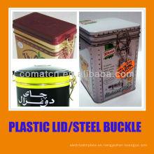 Tapa hermética de plástico y cierre con hebilla de acero para la hojalata puede uso