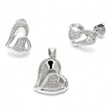Heart Earrings and Pendants Jewelry Set 925 Sterling Silver Micro Set