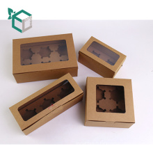 Paquet de cupcake de boîte de gâteau de macaron de papier de kraft brun de catégorie comestible de FSC
