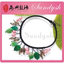 2014 nova chegou artesanal verde pedra natural colar de jóias