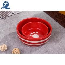 Water pet bowl Custom Red Ceramic Pet Food