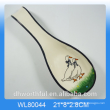 Kitchenware ceramic spoon holder with animal decal