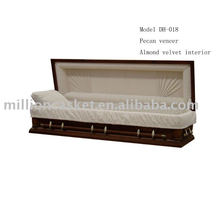 DH-018 pecan veneer full couch casket carton and foam