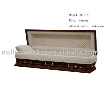pecan wooden veneer casket funeral wholesales product
