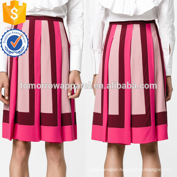 Office Lady Multicolored Pleated Cinched Waist Midi Summer Skirt Manufacture Wholesale Fashion Women Apparel (TA0024S)