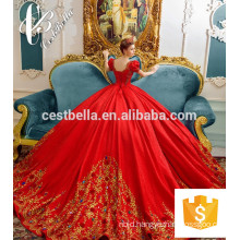 Newest Design Bridal Gown 2017 Top Quality Heavy Beaded Bridal Dress Red Embroidered Luxurious Gown Princess