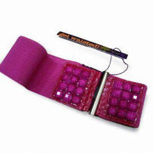 Ladies Elastic Waist Belt, Stressed Buckle Design Made of Crystal, Customized Designs are Accepted