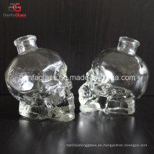 50ml Botella de cristal personalizada del cráneo con el Bartop