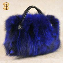 Atacado Moda Mulheres Real Fox Fur Tote Bags Bolsa de pele genuína Fox