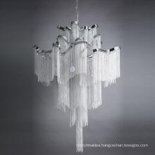 Creative Handmade Waterfall Chandelier Aluminum Chain Tassel Ceiling Mounted Chandelier