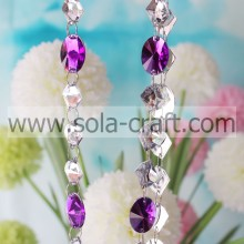 Blanco y púrpura 18 * 25MM Diamond Hanging Bead Chains Modern Lamp Drops
