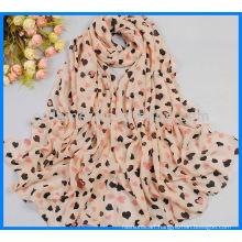 Fashion lady hearts printing chiffon scarf