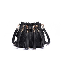 Ladies Drawstring PU Daypack Knitted Tassel Bucket Bag Wzx1179