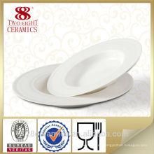 Placa de sopa de porcelana de hotel blanca, plato de comida de cerámica