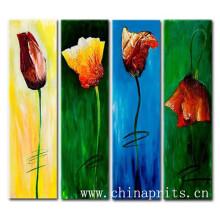 Peintures à l'huile à la main plus récentes à la main de photos de fleurs sur toile