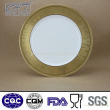 A068 Plato de cena de cerámica de hueso fino del borde del oro