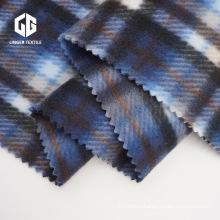 Print Check Design Brushed Velvet Fabric
