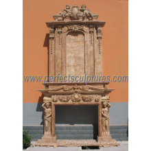 Carving Marmor Kamin für Outdoor Stone Kamin Mantel (QY-LS286)