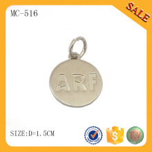MC516 Round shape custom logo metal material jewelry tag for bracelet