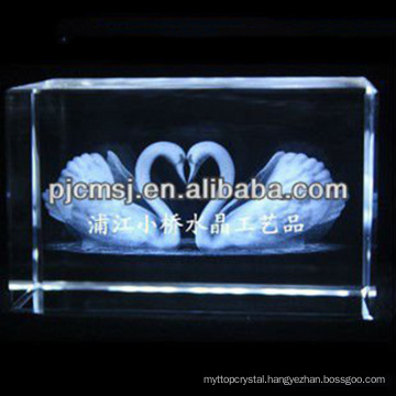 2015 Crystal 3D couple swan Laser Engraved For Loved Gifts & home decoration