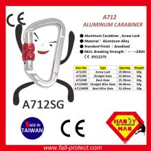 Screw Lock 23KN Taiwan Rock Climbing Carabiner Made Of Aluminum