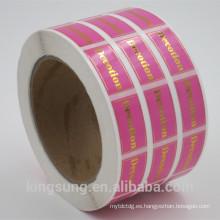 etiqueta engomada de papel del sello de oro / astilla de calidad superior para lacre