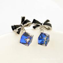 Elegant Austrian Crystal Pendant Gold earring natural sapphire diamond gold earring