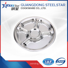 Guangdong factory stainless steel round 3 and 5compartments plates tray with polishing surface