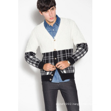 Whosale V Neck Knitted Men Cardigan with Button