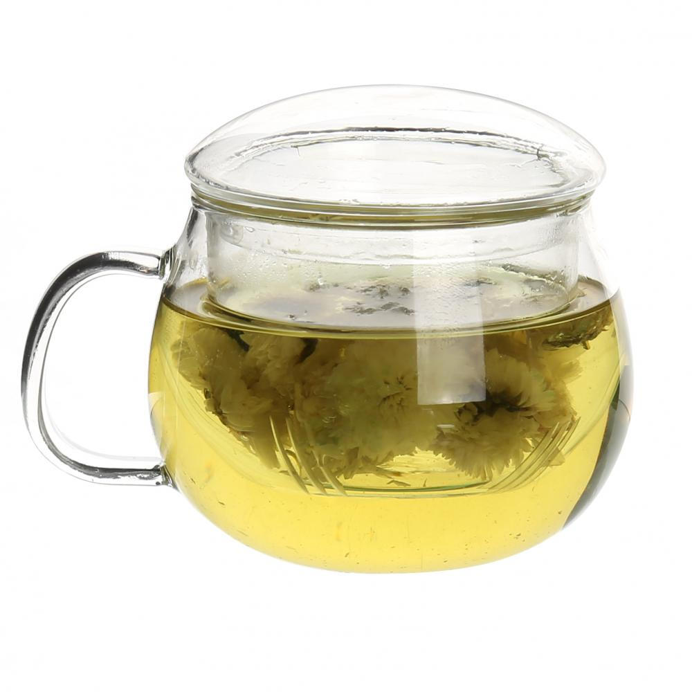 Round Shape Drinking Glass Tea Cup With Handle And Lid
