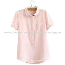 Women's summer casual shirt, short sleeve and 100% cotton