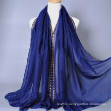 Bufanda musulmán del hijab del borde de lentejuelas de oro