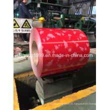 Bobina de aço galvanizada pré-pintada com base vermelha de flor branca da manufatura direta