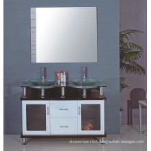 Double Sink Glass Bathroom Cabinet (B-608)