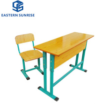 School Classroom Adjustable Height Double Desk and Chair