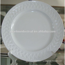 Ceramic plate, porcelain plate, dinner plate with embossed