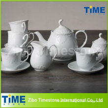 Embossed White Ceramic Tea Set Made in China