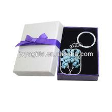 Turquoise Chip Stone Toast Square Shape Lucky tree Pendentif Keychain avec boîte cadeau