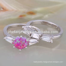 YELLOW GOLD PLATING NATURAL OPAL DIAMOND WEDDING RING