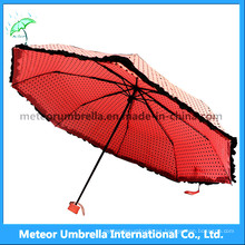 Señoras / muchachas lindos colores rosados doblan la mini lluvia / Sunumbrella