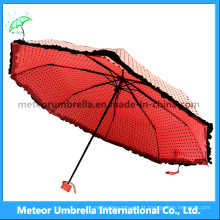 Senhoras / meninas bonito rosa cores dobre mini chuva / sunumbrella