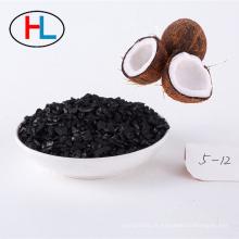Coefficient 6-12 de charbon actif de coquille de noix de coco de maille pour l'affinage d'or